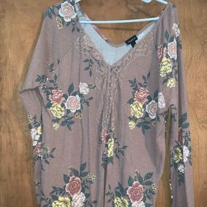 Torrid size 2 floral waffle long sleeve top